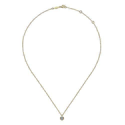14K Yellow-White Gold Round Diamond Pendant Necklace with Hexagonal Frame