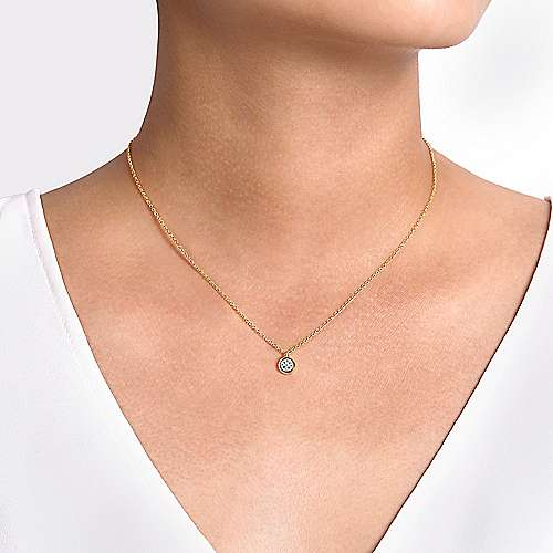 14K Yellow-White Gold Round Pavé Diamond Cluster Pendant Necklace with Bezel Frame