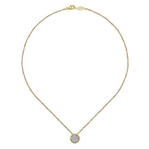 14K Yellow-White Gold Round Pavé Diamond Pendant Necklace
