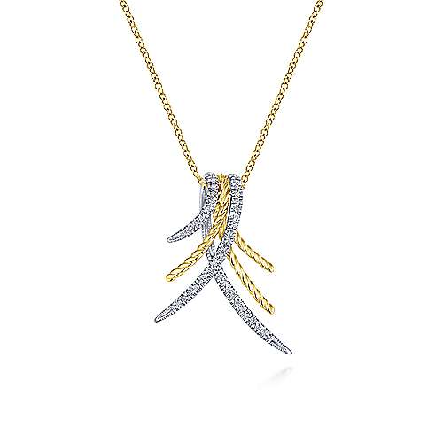 14K Yellow-White Gold Sculptural Pavé Diamond Pendant Necklace