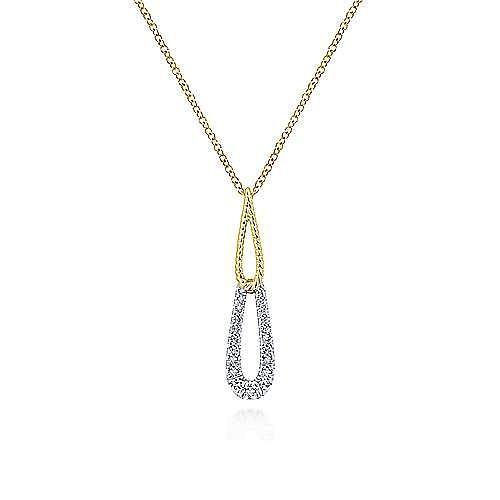 14K Yellow/White Gold Stacked Teardrop Diamond Pendant Necklace