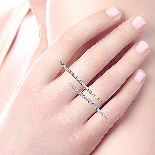 14K Yellow-White Gold Staggered Double Finger Tapered Bar Diamond Ring