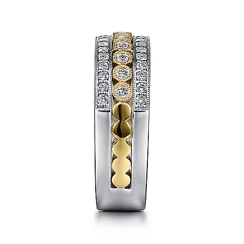 14K Yellow/White Gold Striped Wide Band Diamond Ring