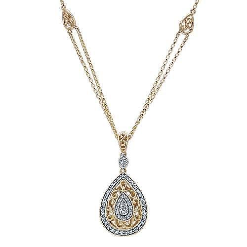 14K Yellow-White Gold Teardrop Filligree and Diamond Pendant Necklace