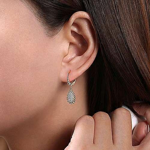14K Yellow-White Gold Teardrop Shape Beaded Frame Diamond Drop Earrings