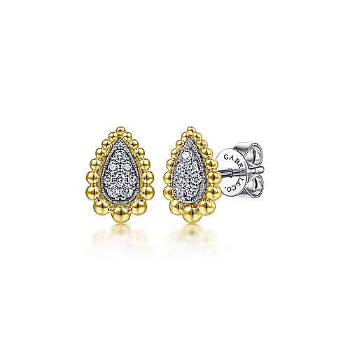 14K Yellow-White Gold Teardrop Shape Beaded Frame Diamond Stud Earrings