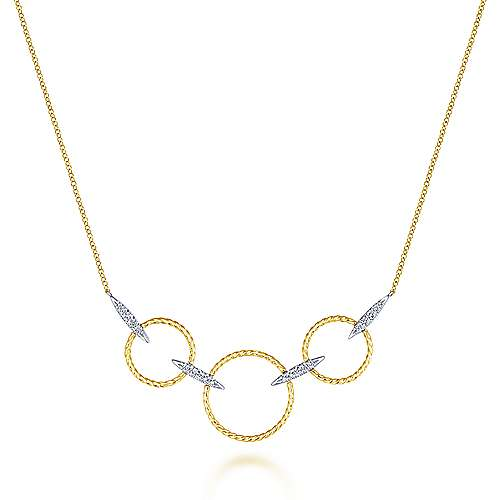 14K Yellow-White Gold Triple Loop Necklace with Diamond Connectors