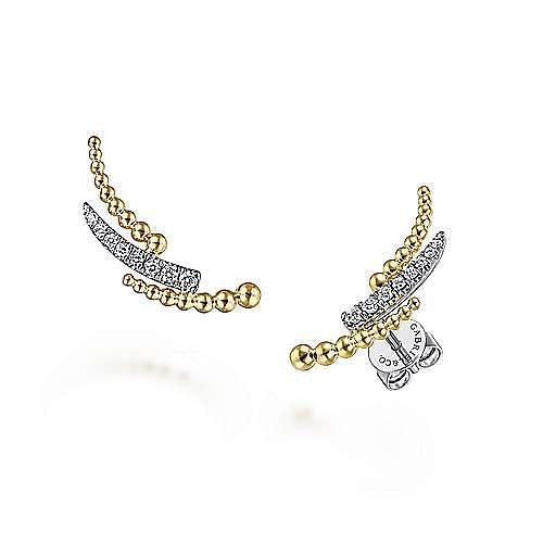 14K Yellow-White Gold Triple Split Curved Bar Bujukan Diamond Stud Earrings