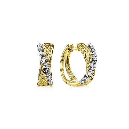 14K Yellow-White Gold Twisted 15mm Diamond Huggies