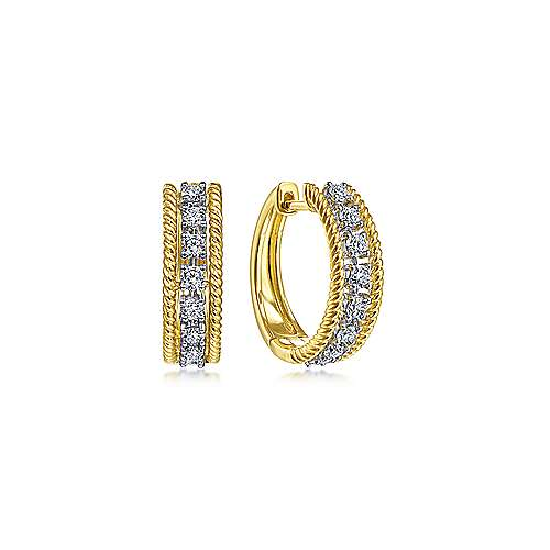 14K Yellow-White Gold Twisted 15mm Diamond Huggies