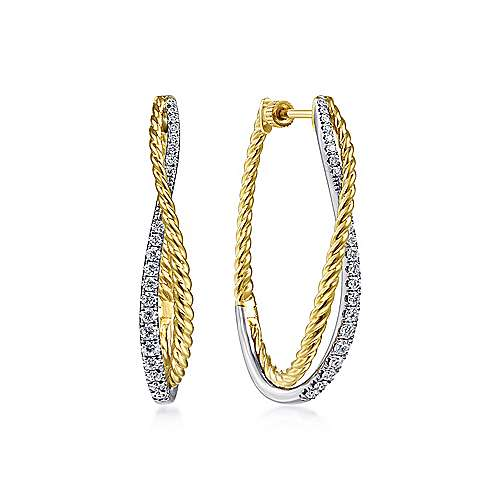 14K Yellow-White Gold Twisted 35mm Classic Diamond Hoop Earrings