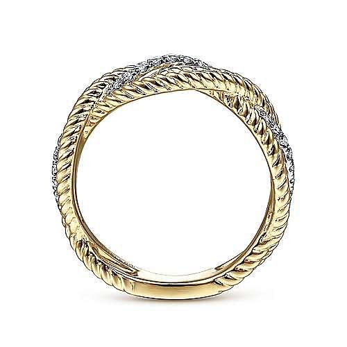 14K Yellow/White Gold Twisted Braided Diamond Ring
