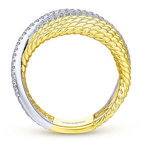 14K Yellow/White Gold Twisted Bypass Diamond Ring