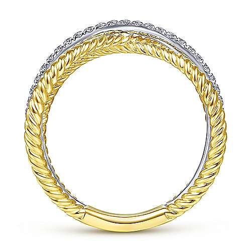 14K Yellow/White Gold Twisted Criss Cross X Shaped Diamond Ring