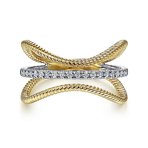 14K Yellow/White Gold Twisted Curving Diamond Ring