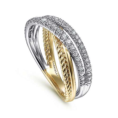 14K Yellow/White Gold Twisted Diamond Ring