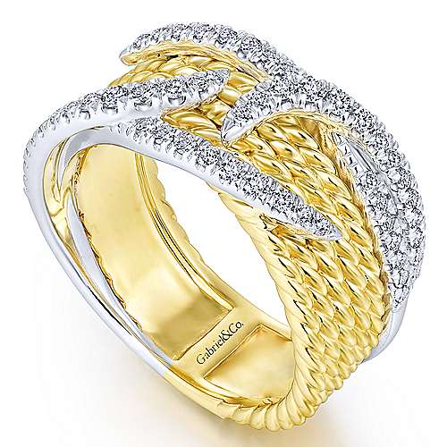 14K Yellow/White Gold Twisted Layered Diamond Tendril Overlay Ring