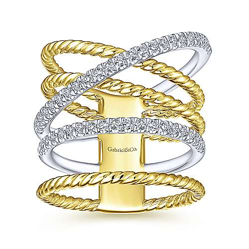 14K Yellow/White Gold Twisted Layered Wide Band Diamond Ring