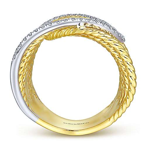14K Yellow/White Gold Twisted Layered Wide Band Diamond Ring