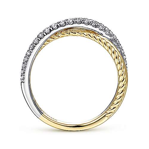 14K Yellow/White Gold Twisted Ring
