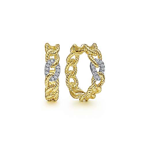 14K Yellow-White Gold Twisted Rope Link Huggies with Diamond Pave
