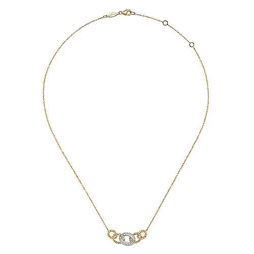 14K Yellow-White Gold Twisted Rope Link Necklace with Pavé Diamond Link Station