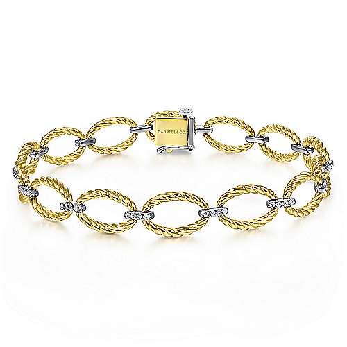 14K Yellow-White Gold Twisted Rope Oval Link Bracelet with Diamond Connectors