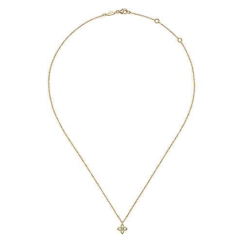 14K Yellow-White Gold Twisted Rope Quatrefoil Pendant Necklace with Diamond Center