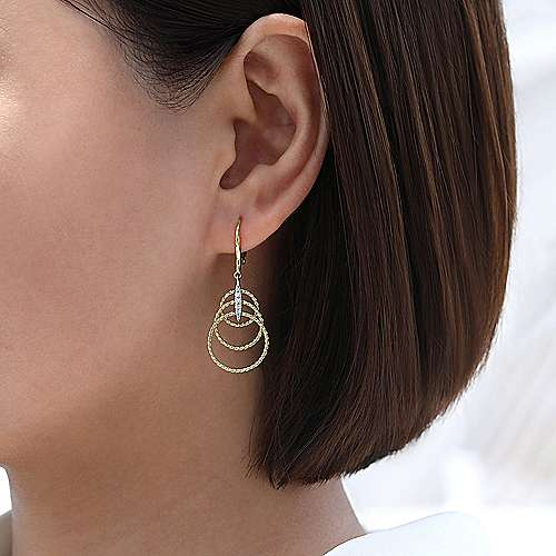 14K Yellow/White Gold Twisted Rope Triple Loop Diamond Drop Earrings