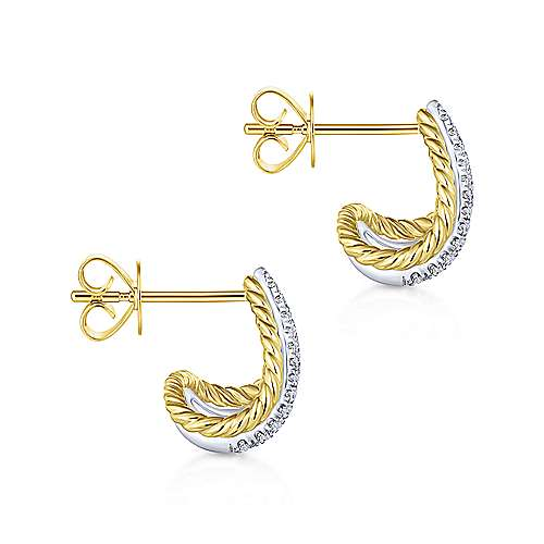 14K Yellow/White Gold Twisted Rope and Diamond Wrap Around Stud Earrings
