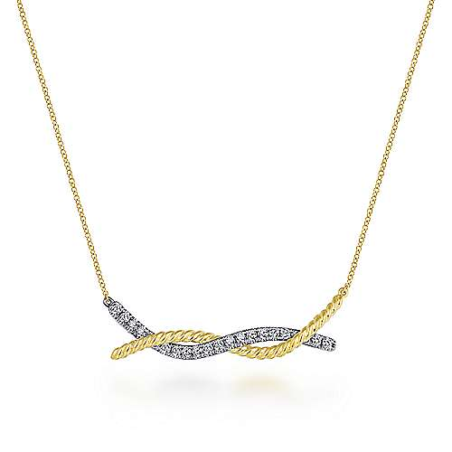 14K Yellow-White Gold Twisted Rope and Pavé Diamond Bar Necklace