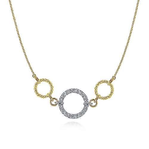 14K Yellow-White Gold Twisted Rope and Pavé Diamond Circle Necklace
