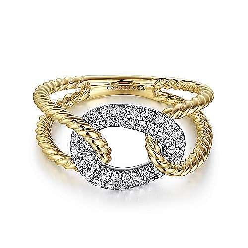 14K Yellow/White Gold Twisted Split Shank Ring
