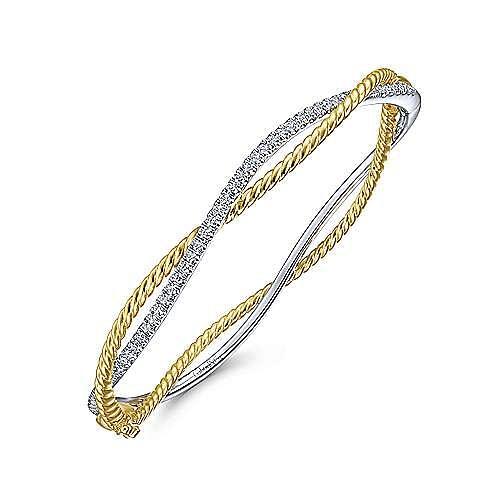 14K Yellow-White Twisted Rope and Diamond Bangle Bracelet