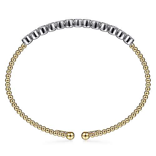14K Yellow and White Gold Bangle with Beads and Round Diamonds