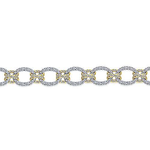 14K Yellow and White Gold Bracelet with Alternating Links and Pavé Diamonds