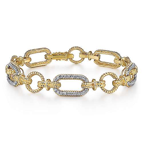 14K Yellow and White Gold Bracelet with Alternating Links