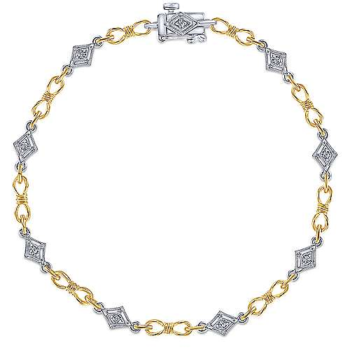14K Yellow and White Gold Bracelet with Diamonds and Round Gemstones