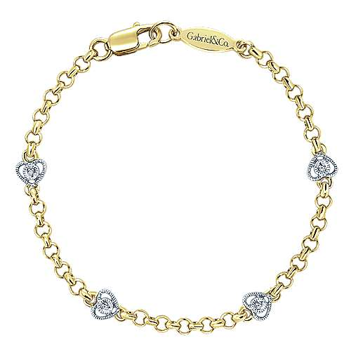14K Yellow and White Gold Bracelet with Heart-Shaped Diamond Accents