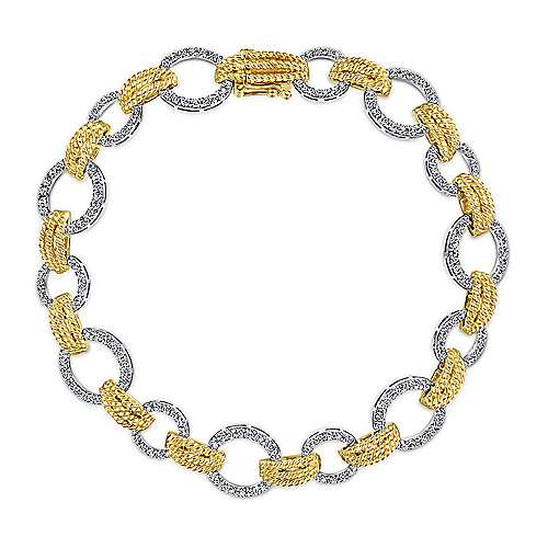 14K Yellow and White Gold Bracelet with Rope Design and Diamonds