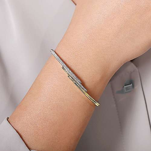 14K Yellow and White Gold Bypass Bangle with Diamonds