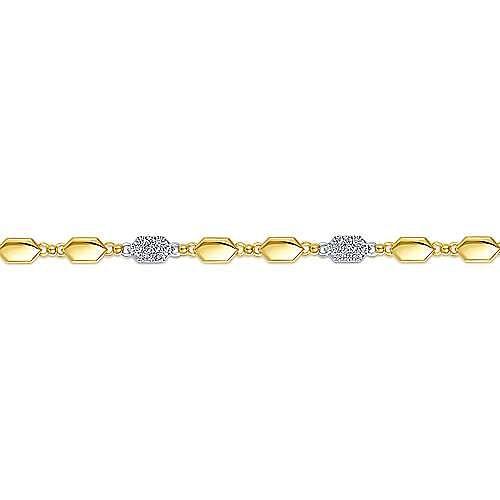 14K Yellow and White Gold Hexagon and Pavé Diamond Tennis Bracelet