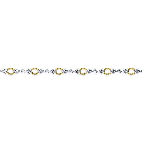 14K Yellow and White Gold Link and Bow Diamond Tennis Bracelet
