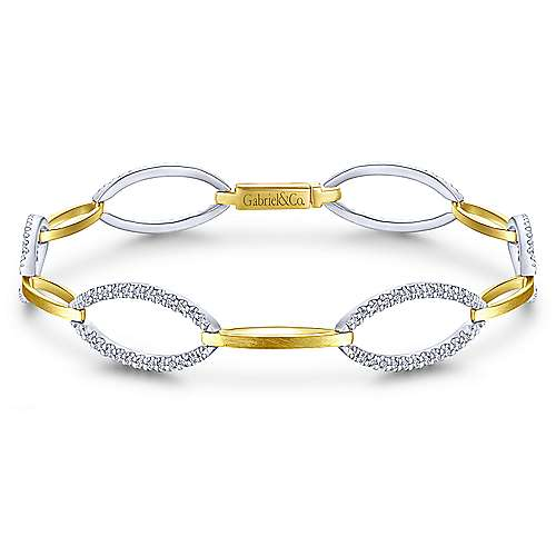 14K Yellow and White Gold Oval and Diamond Link Bracelet
