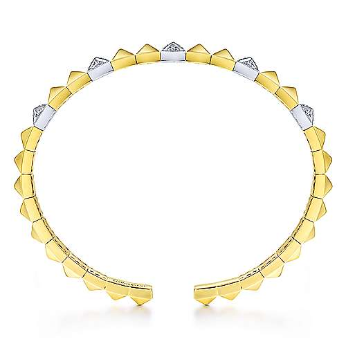 14K Yellow and White Gold Pyramid Bangle with Pavé Diamond Stations