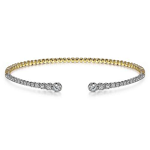 14K Yellow and White Gold Split Cuff Bracelet with Graduating Diamonds