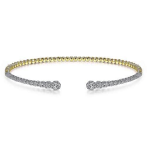 14K Yellow and White Gold Split Cuff Bracelet with Graduating Diamonds