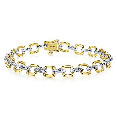 14K Yellow and White Gold Square Link Tennis Bracelet with Diamond Link Connectors