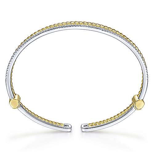 14K Yellow and White Gold Twisted Rope and Diamond Cuff Bracelet