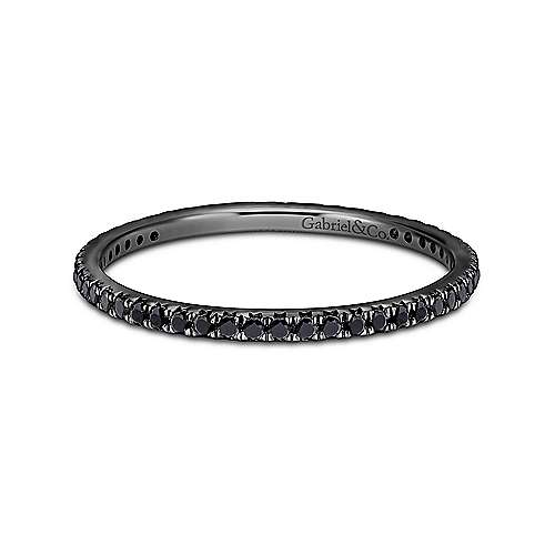 Gabriel - 14k Gold With Black Rhodium Micro Pavé Set Black Diamond Eternity Band